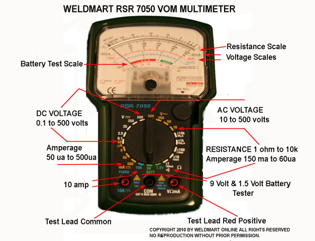 Electrical Tester And Their Uses : Analog multimeter for welder repair