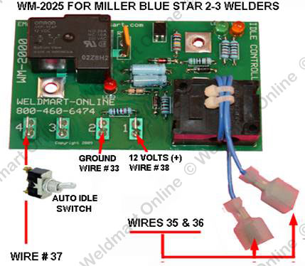 millerbluestar2e_idler_connections installation instructions weldmart idler upgrade board for the miller bluestar 2e wiring diagram at edmiracle.co